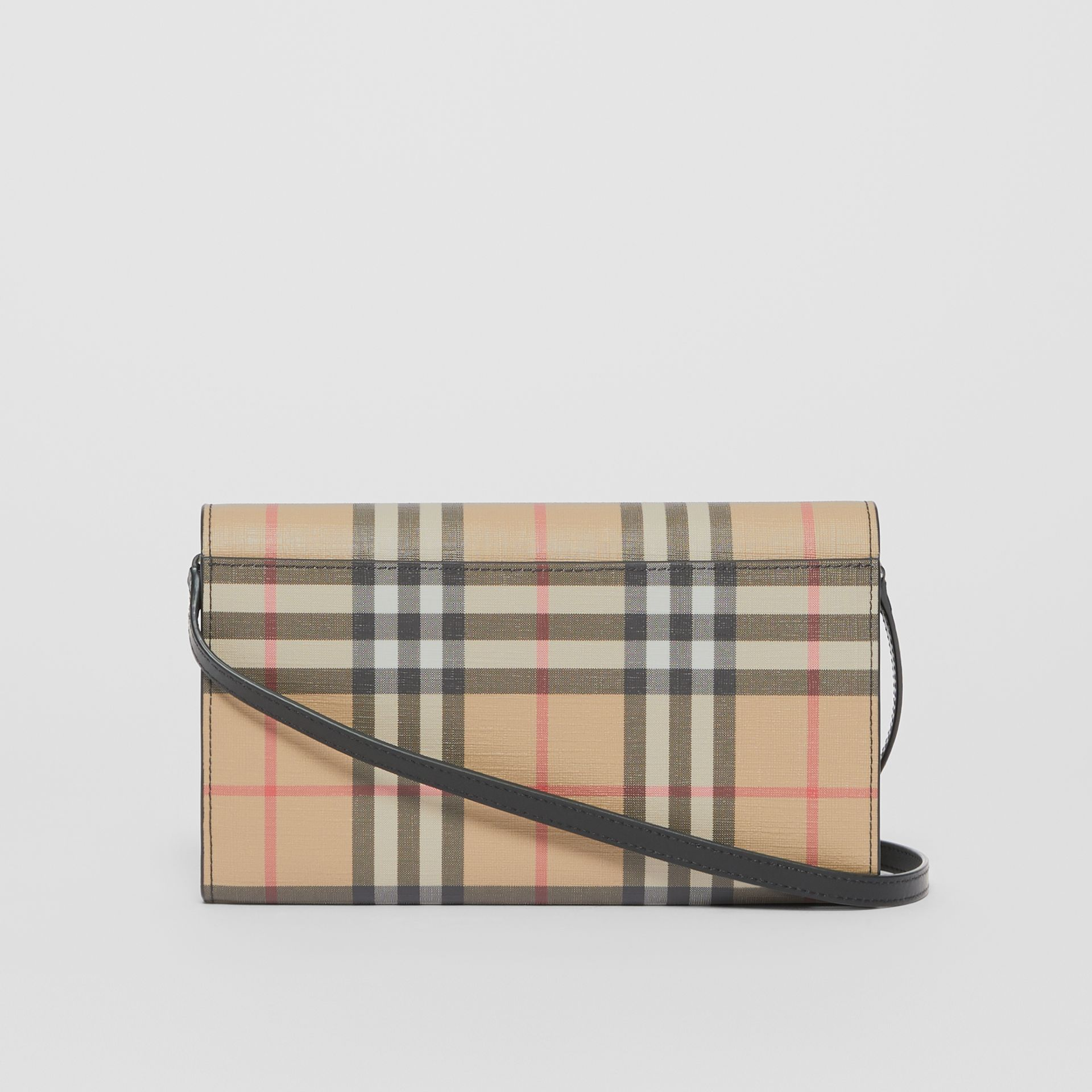 Vintage Check E-canvas Wallet with Detachable Strap in Black - Women | Burberry - gallery image 7