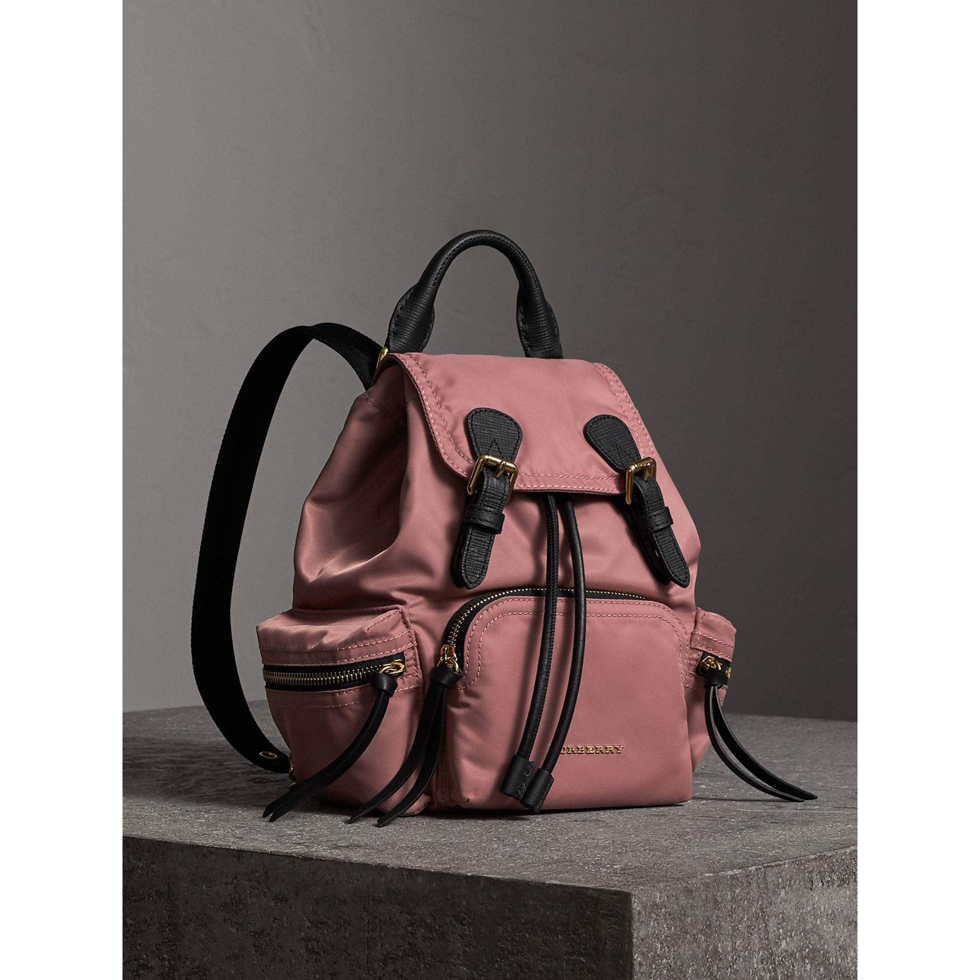 The Small Rucksack in Technical Nylon and Leather in Mauve Pink - Women | Burberry - gallery image 0