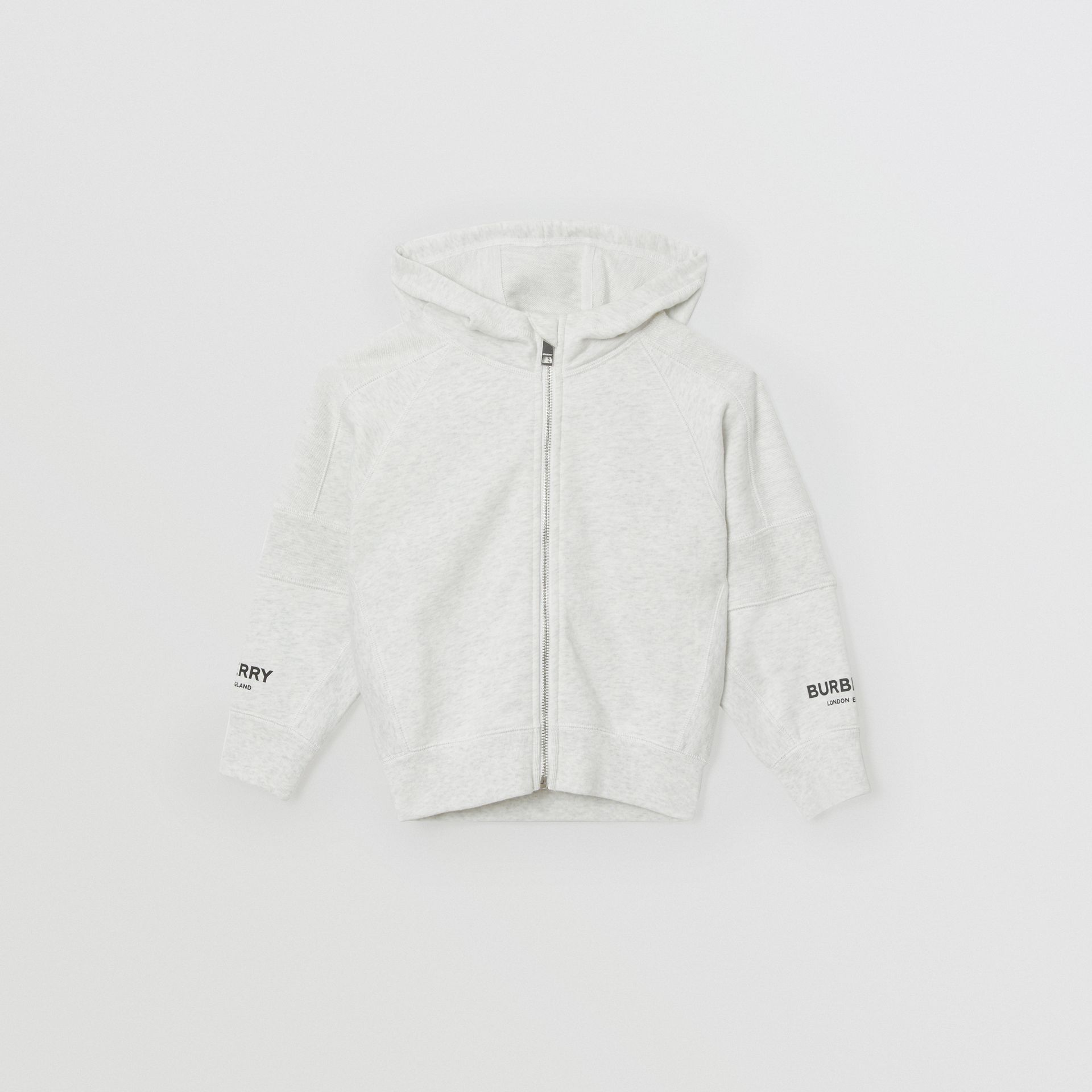 Logo Print Cotton Hooded Top in White Melange | Burberry - gallery image 0