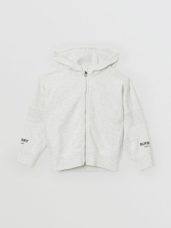 Logo Print Cotton Hooded Top in White Melange
