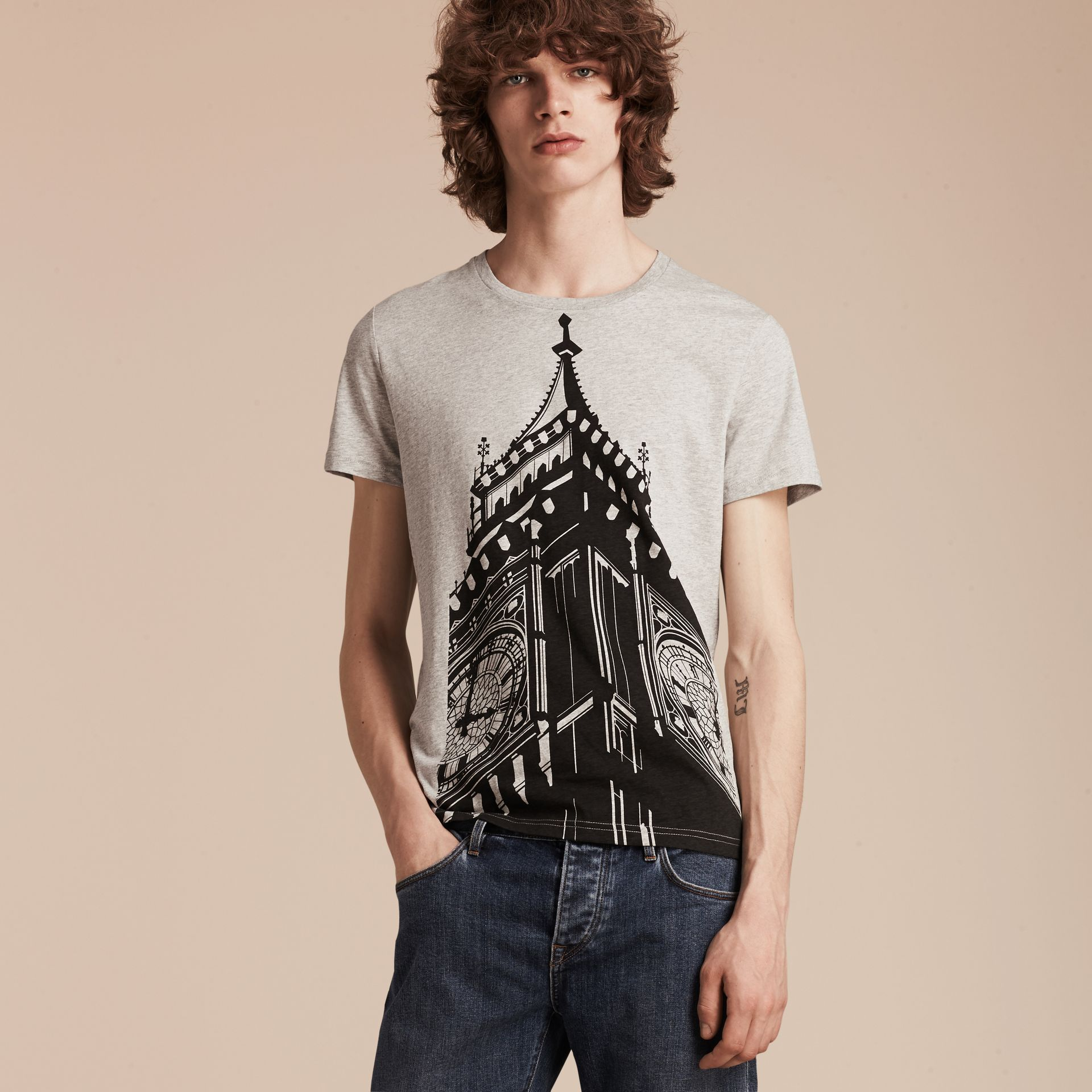 Pale grey melange Big Ben Print Cotton T-shirt - gallery image 6