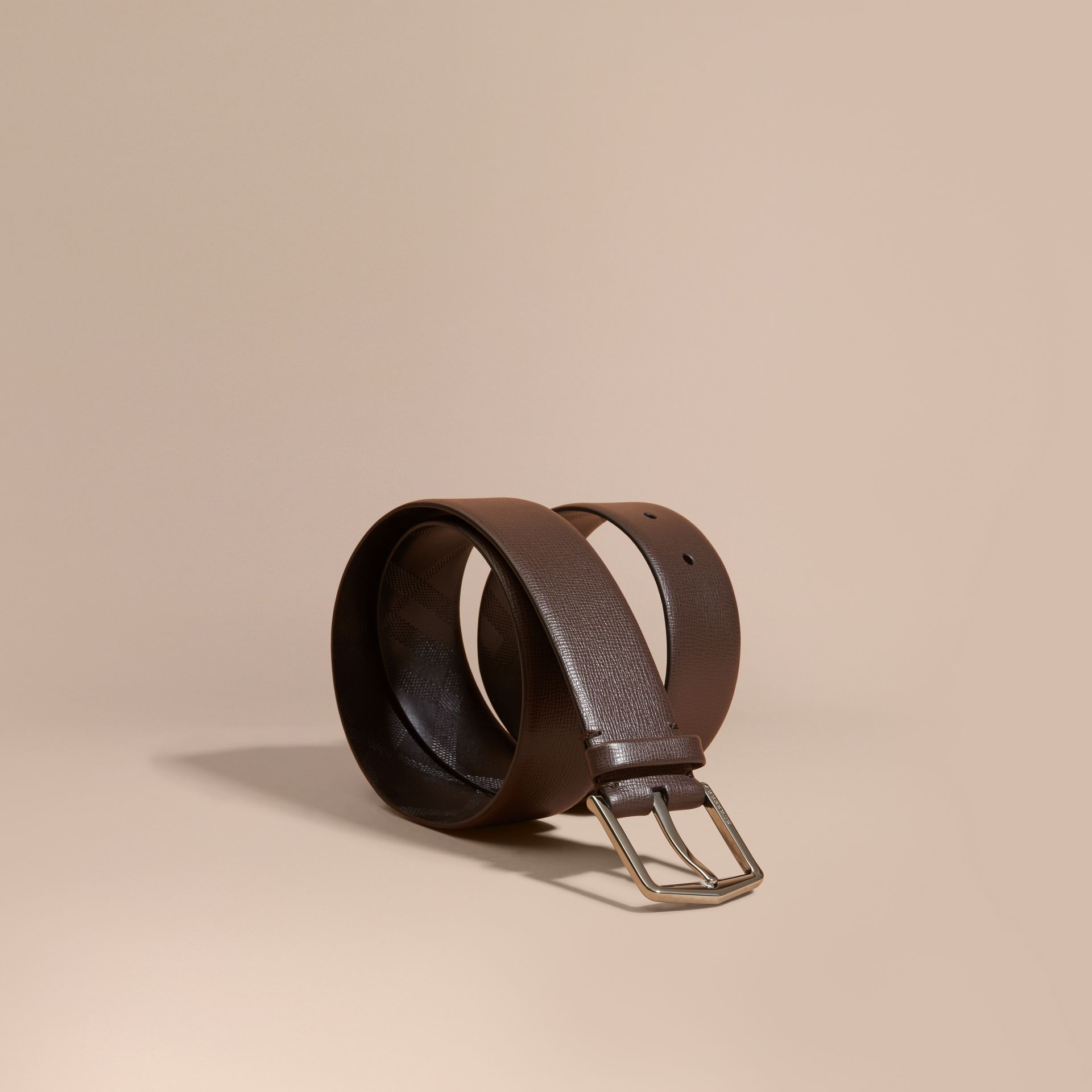 London Leather Belt with Check Detail in Bitter Chocolate - Men | Burberry - gallery image 1