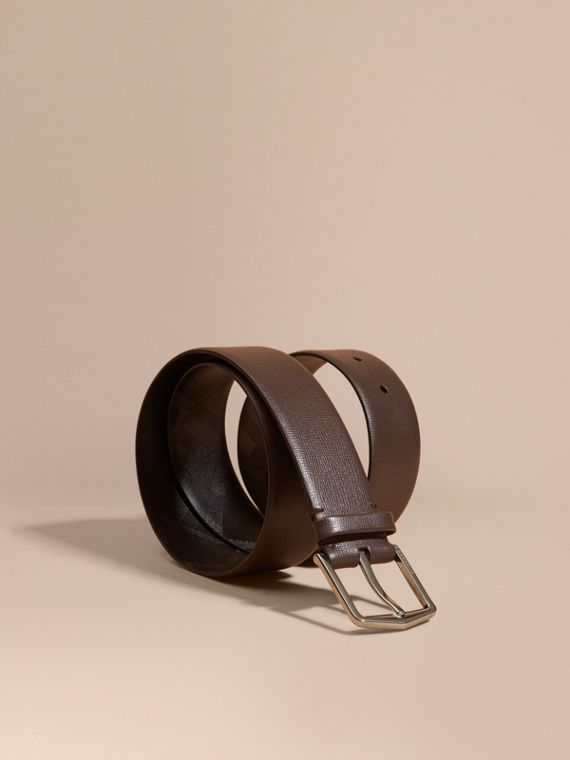 London Leather Belt with Check Detail Bitter Chocolate