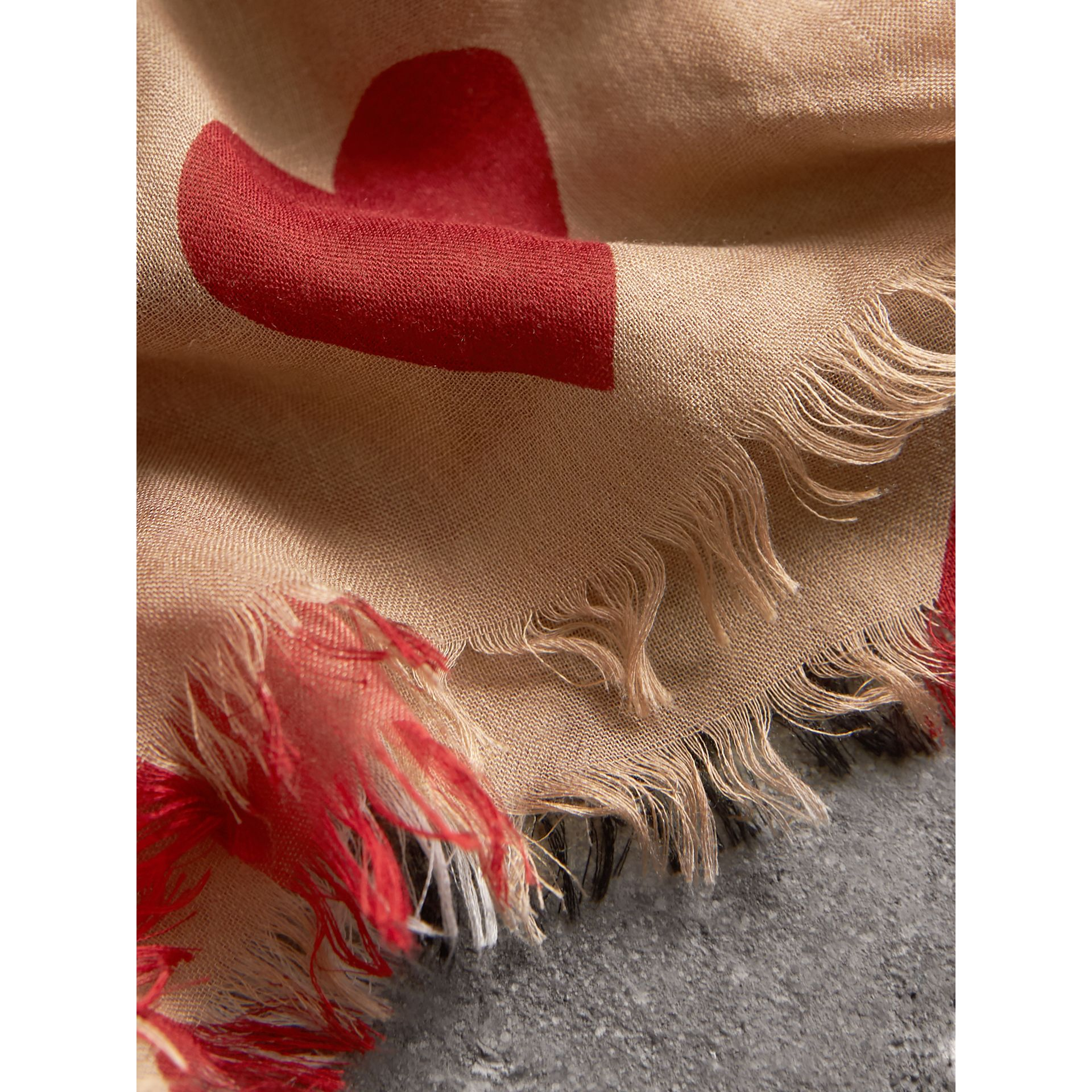 Heart and Check Modal and Cashmere Scarf in Camel/red - Women | Burberry - gallery image 1