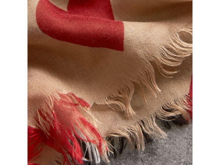 Heart and Check Modal and Cashmere Scarf in Camel/red - Women | Burberry Hong Kong - cell image 1