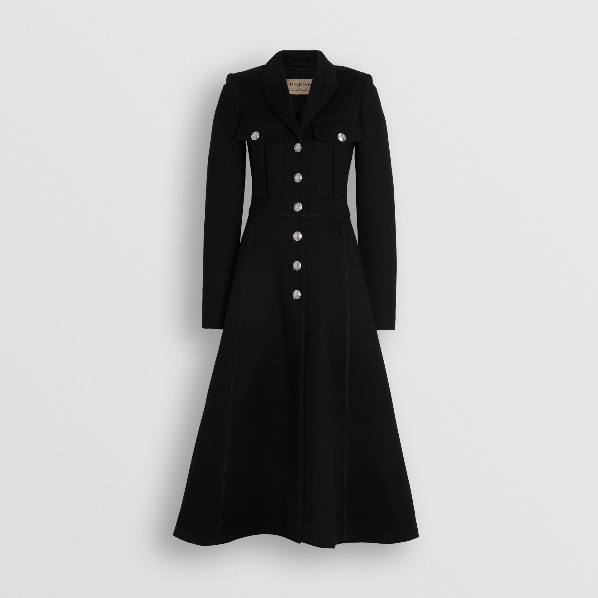 Bonded Cotton Blend Jersey Tailored Coat in Black - Women | Burberry - gallery image 3