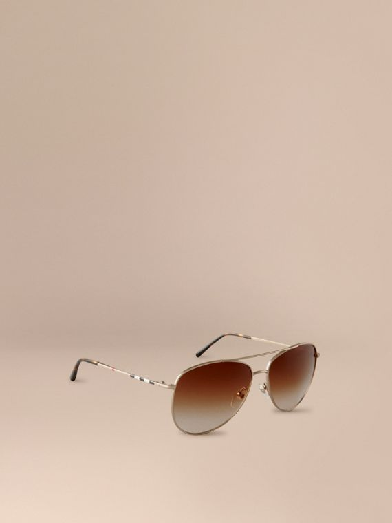 Check Arm Aviator Sunglasses Pale Gold