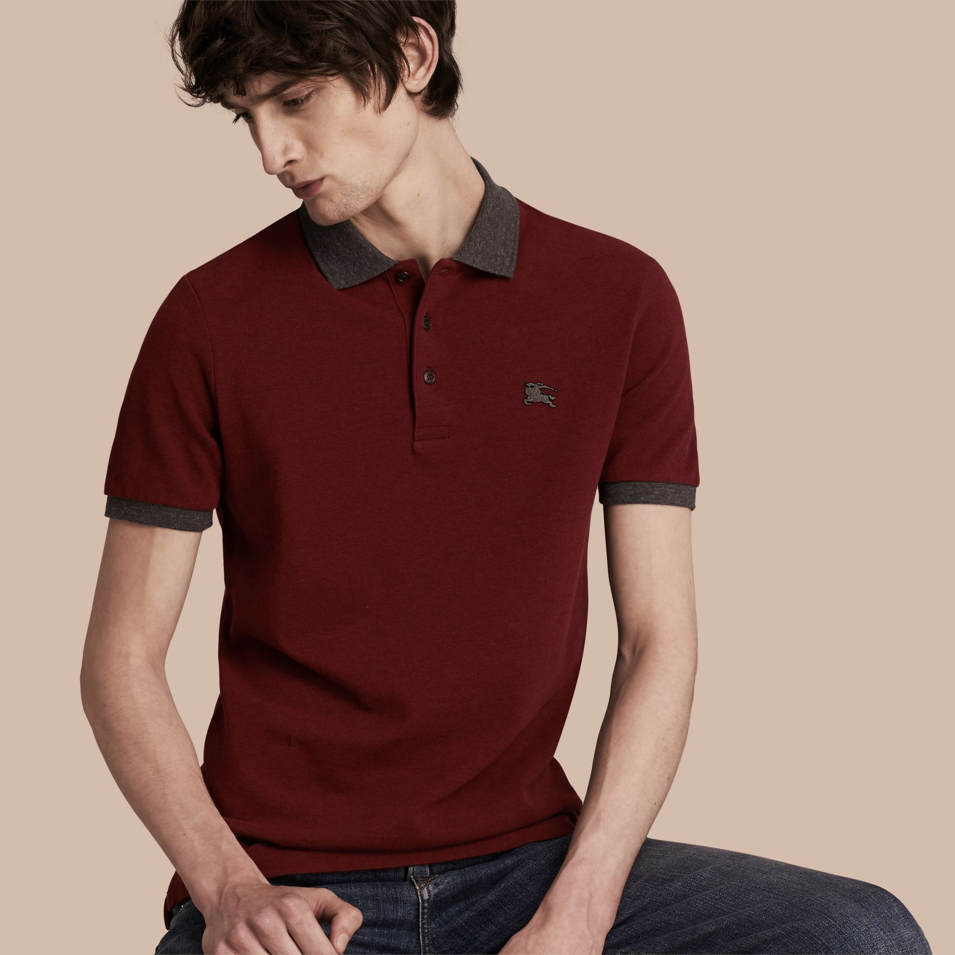 Parade red melange Contrast Colour Detail Cotton Piqué Polo Shirt Parade Red Melange - gallery image 1
