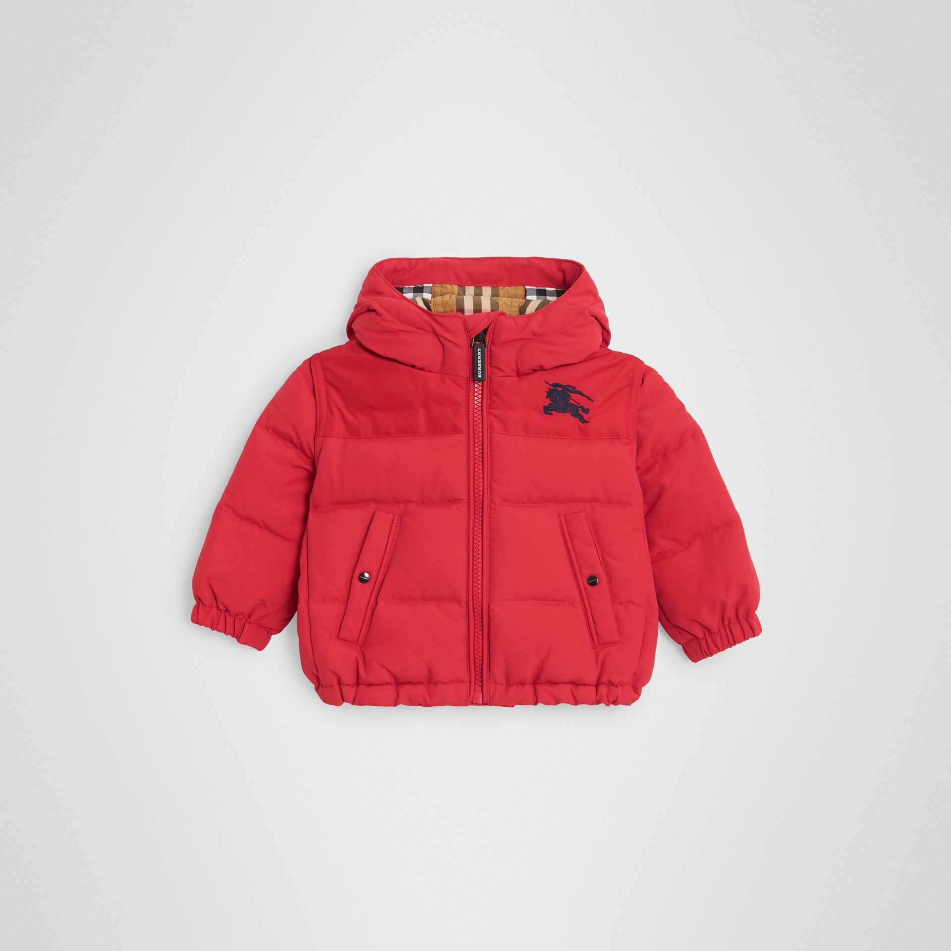 Down-filled Hooded Puffer Jacket in Bright Red - Children | Burberry United Kingdom - gallery image 0