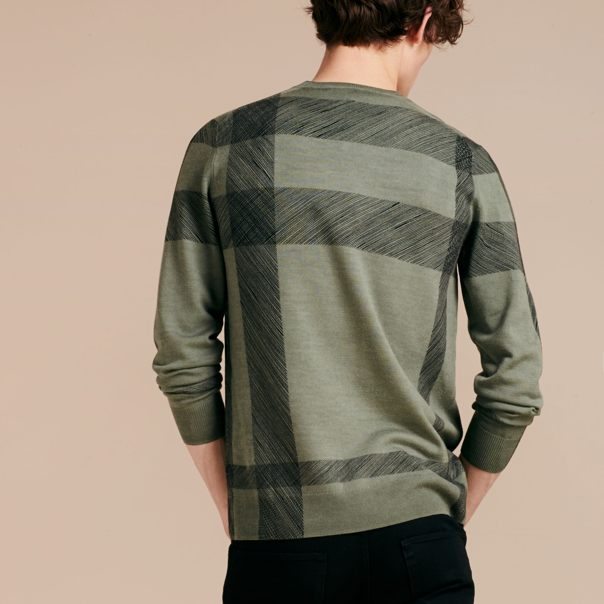 Eucalyptus green Abstract Check Merino Wool Sweater Eucalyptus Green - gallery image 3