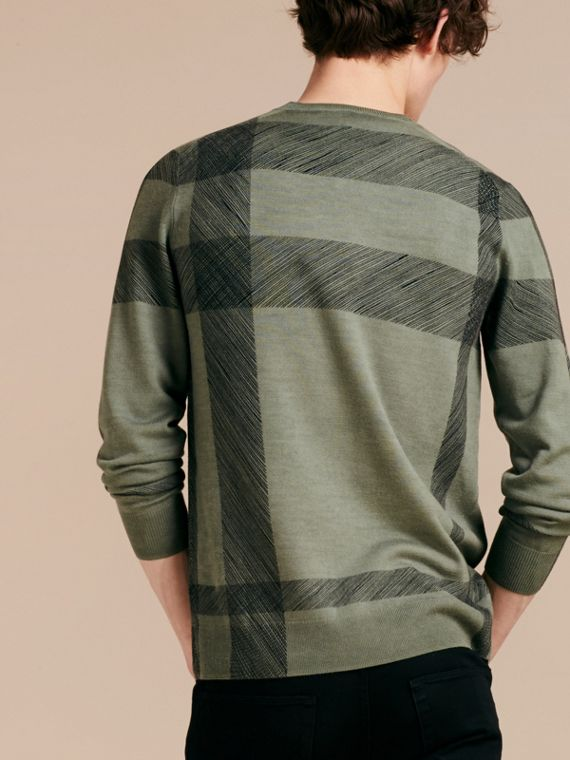 Eucalyptus green Abstract Check Merino Wool Sweater Eucalyptus Green - cell image 2