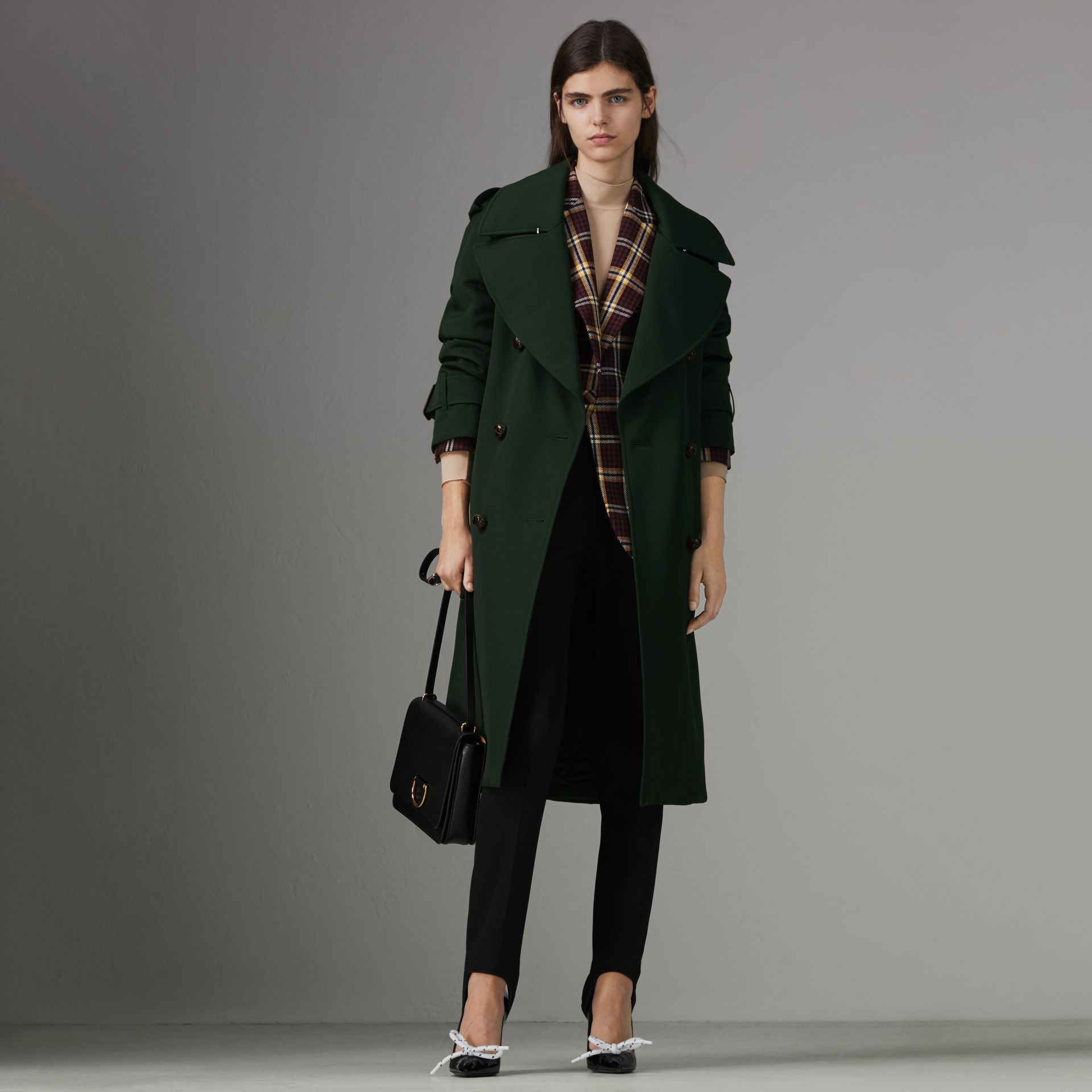 Oversized Lapel Wool Gabardine Trench Coat in Dark Cedar Green - Women | Burberry Australia - gallery image 0