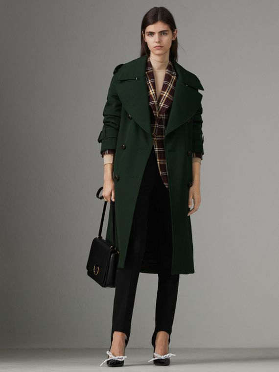Oversized Lapel Wool Gabardine Trench Coat in Dark Cedar Green
