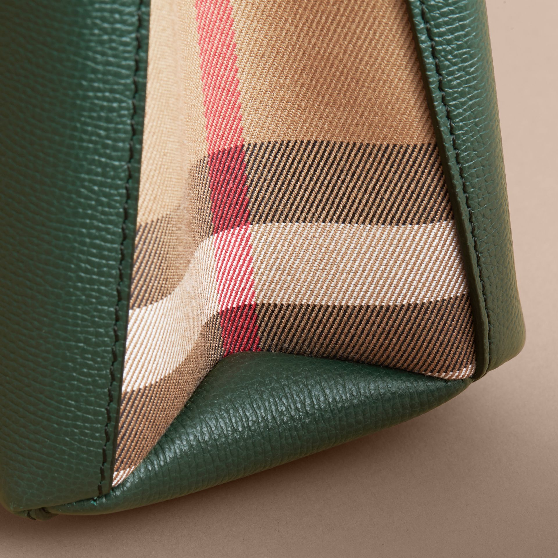 The Small Banner in Leather and House Check in Dark Bottle Green - Women | Burberry - gallery image 6