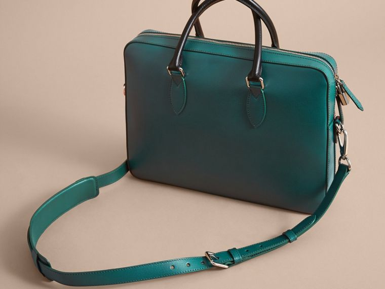 London Leather Briefcase in Dark Teal/black - Men | Burberry - cell image 4