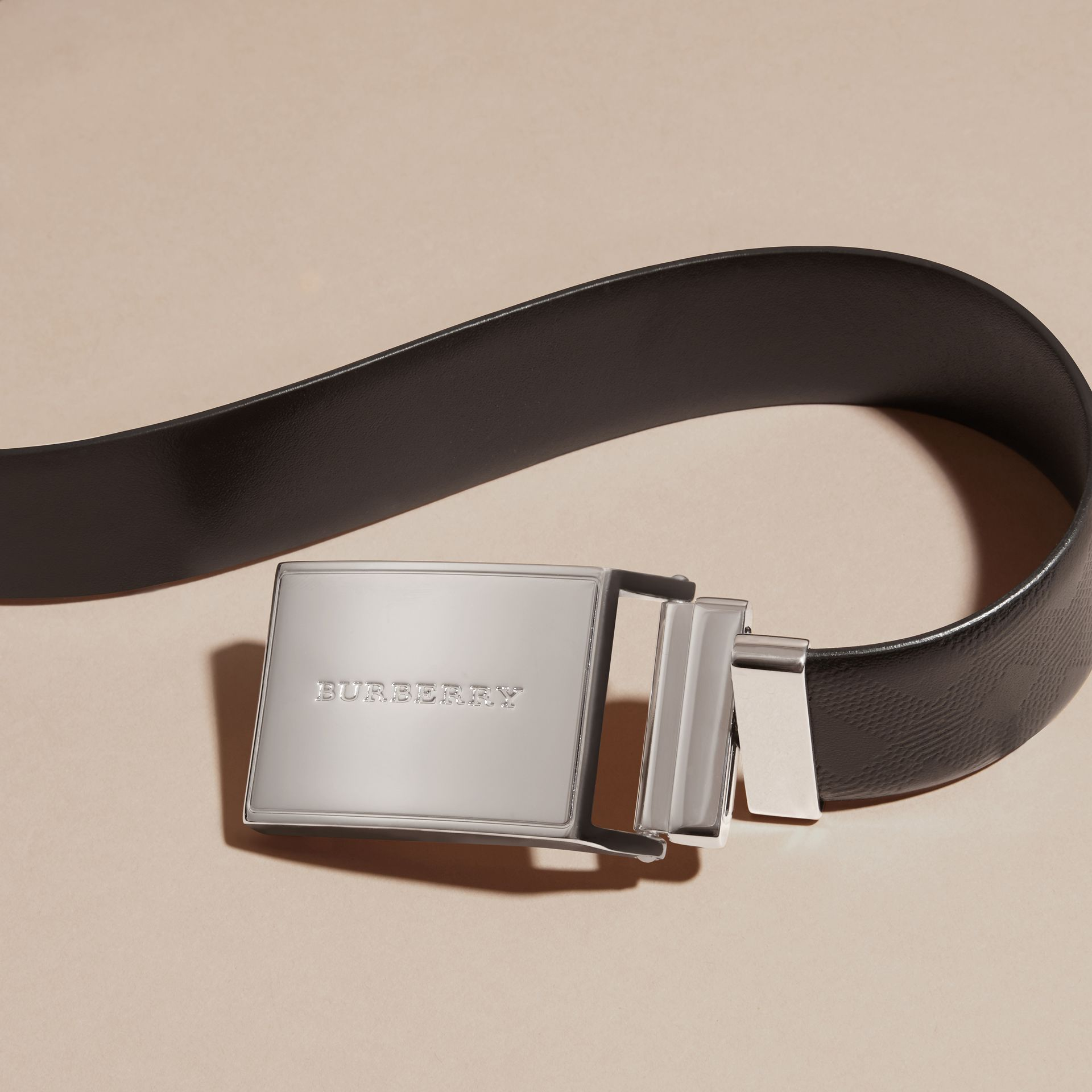 Reversible Check Embossed Leather Belt in Black - Men | Burberry - gallery image 2