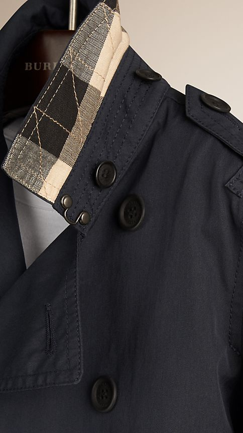 Navy Hooded Cotton Twill Trench Coat Navy - Image 4