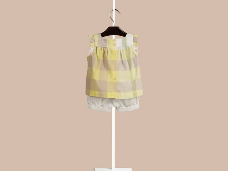 Pale lemon Check Pintuck Detail Cotton Top Pale Lemon - cell image 1