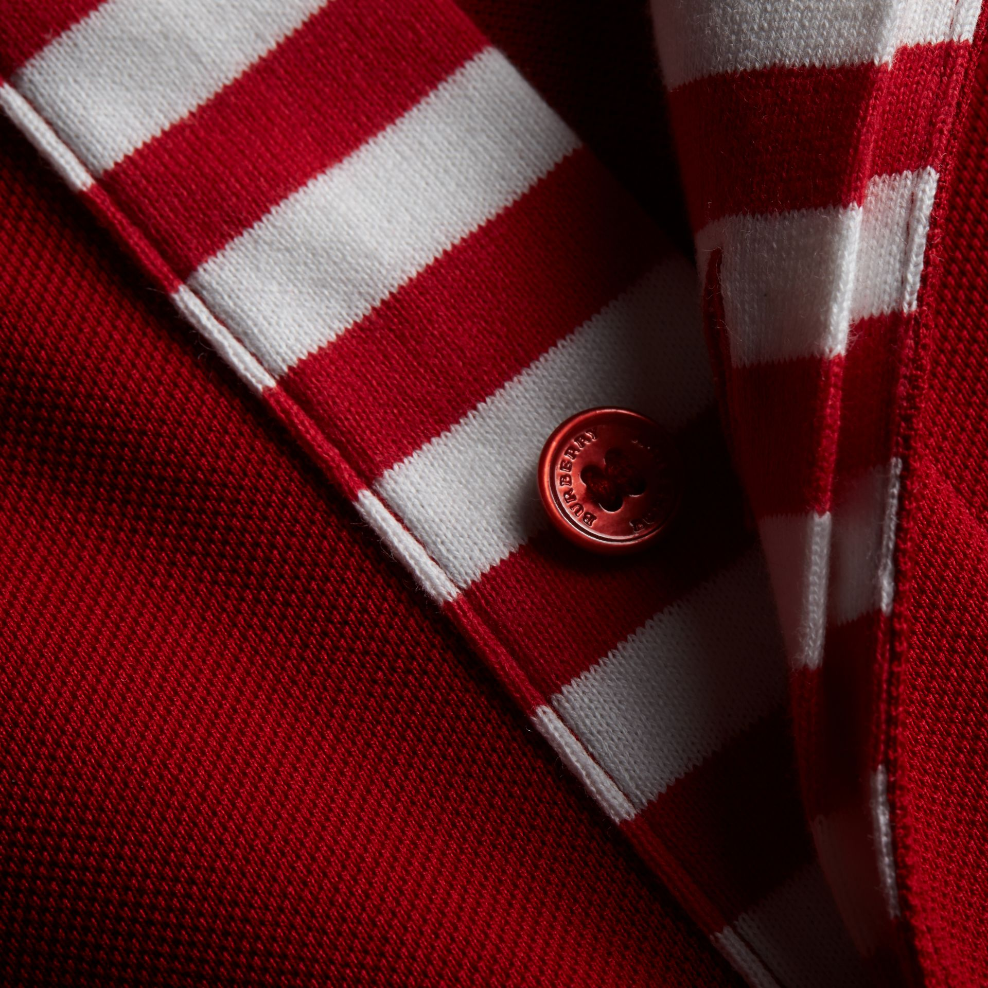 Striped Placket Cotton Piqué Polo Shirt in Military Red - Men | Burberry - gallery image 2