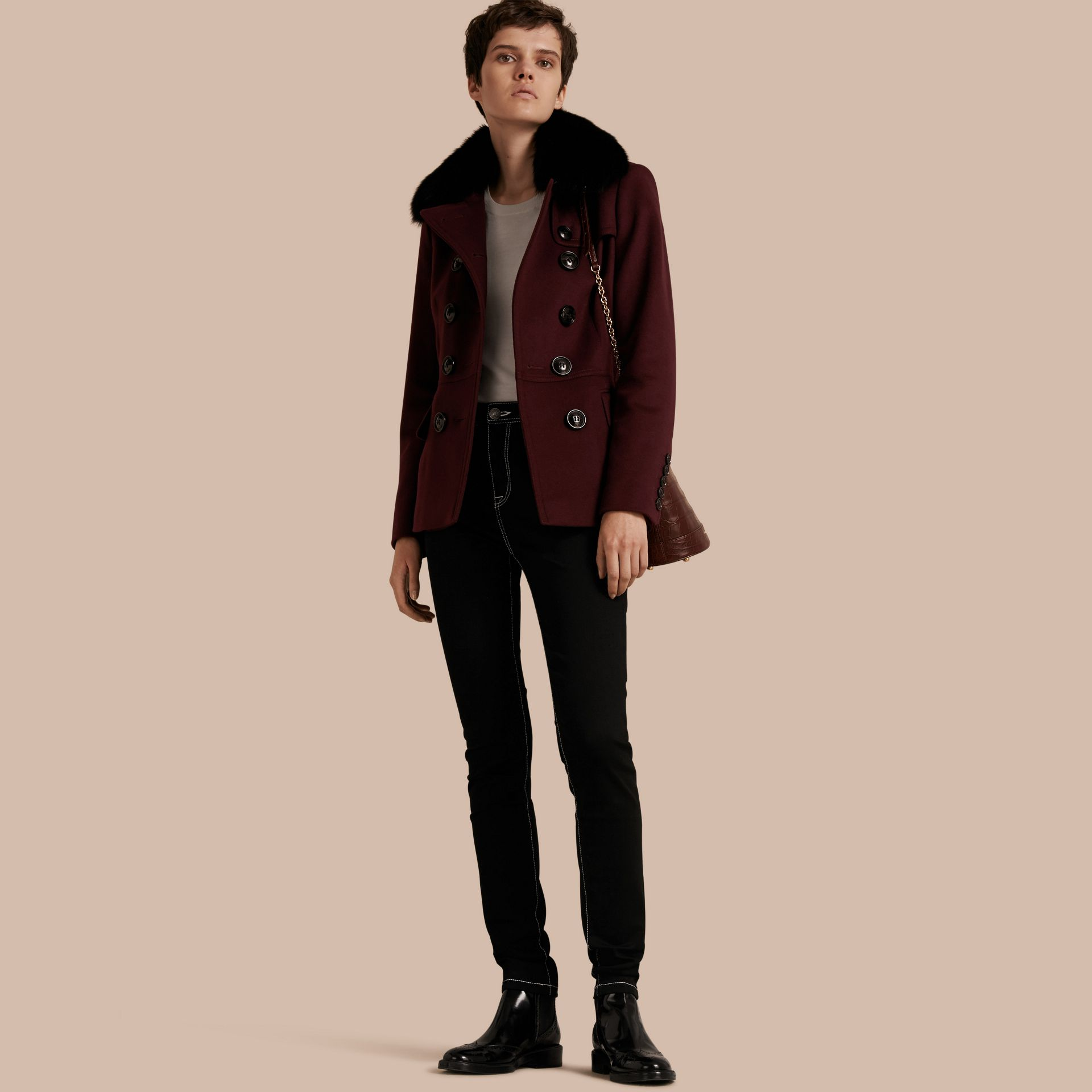 Deep claret Double-breasted Wool Cashmere Fur Collar Coat - gallery image 1