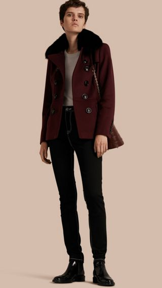 Double-breasted Wool Cashmere Fur Collar Coat