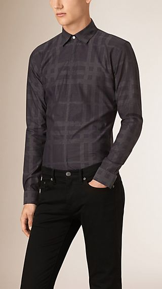 Slim Fit Check Jacquard Cotton Shirt