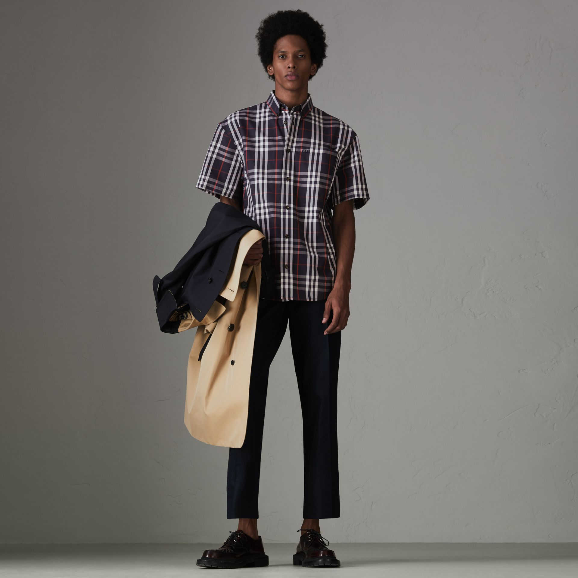 Gosha x Burberry Short-sleeve Check Shirt in Navy | Burberry Canada - gallery image 7