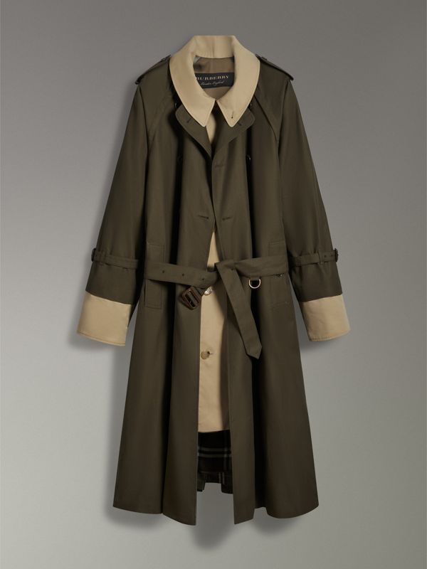 Trench coat in gabardine tropicale (Verde Cachi Scuro) | Burberry - cell image 3