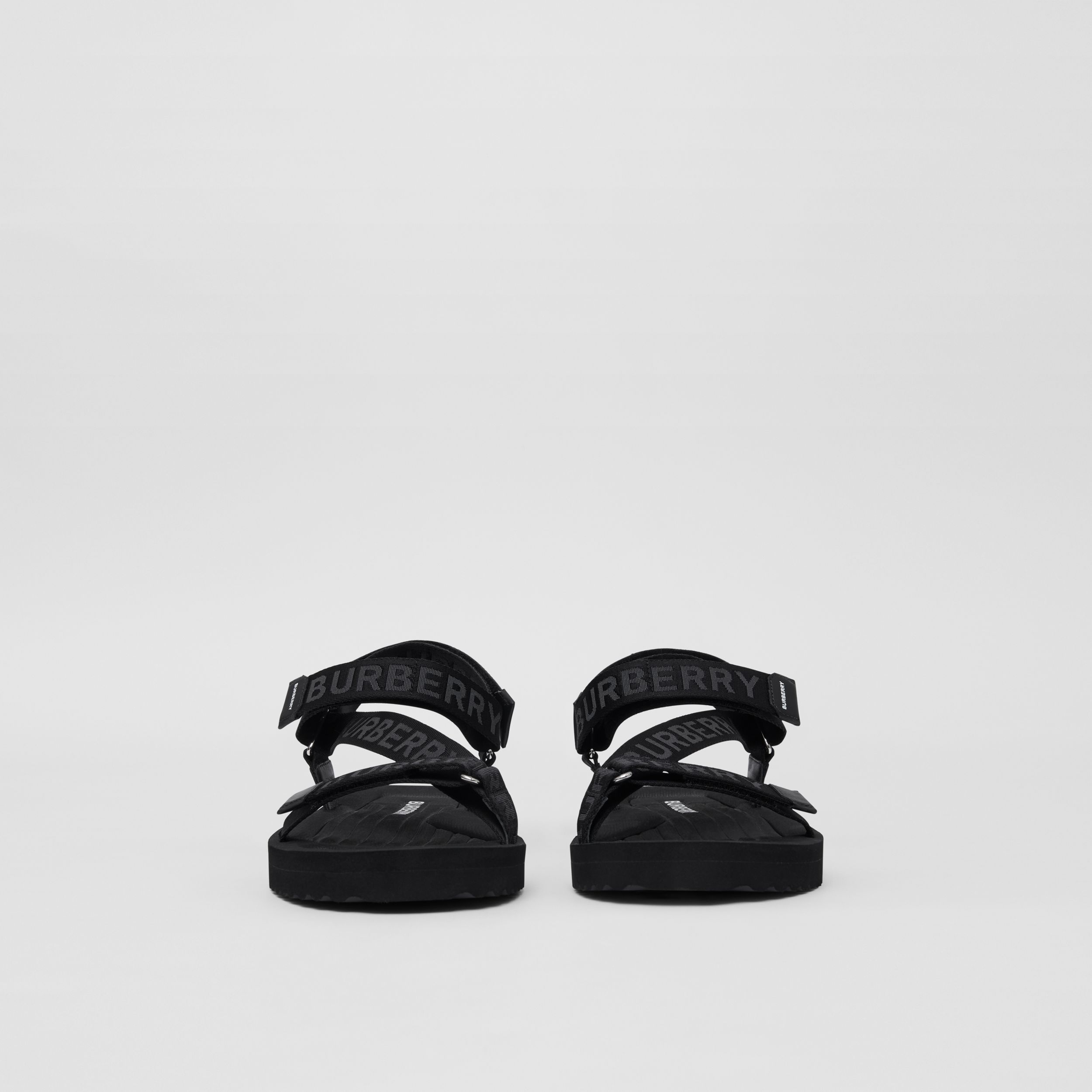 Logo Jacquard Sandals in Black - Men | Burberry - 3