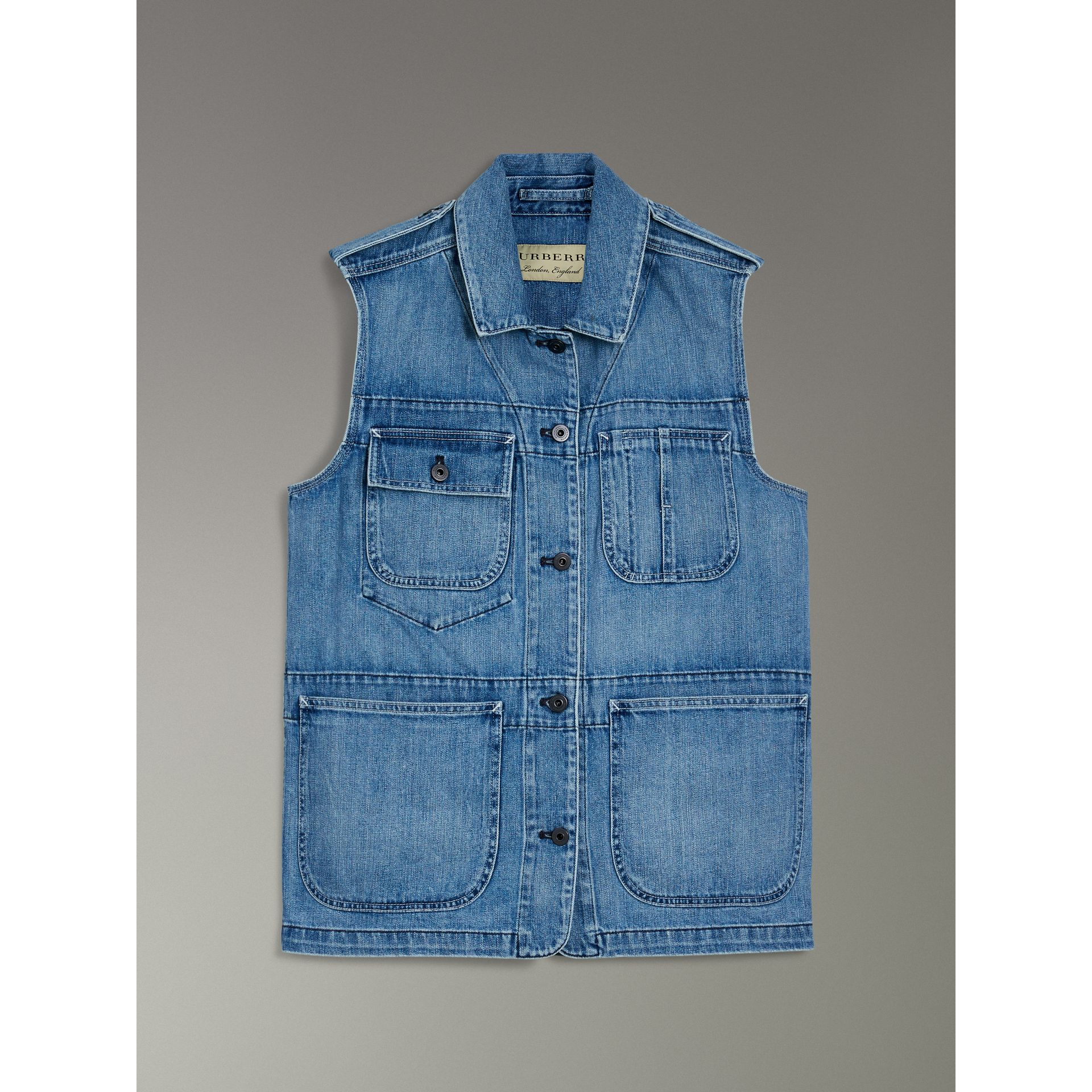 Sleeveless Japanese Denim Jacket in Steel Blue - Women | Burberry - gallery image 3
