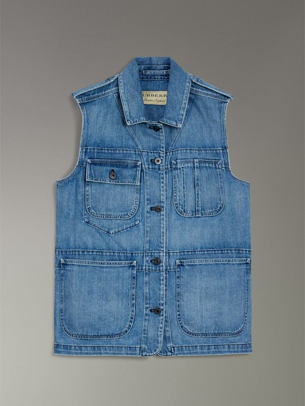 Sleeveless Japanese Denim Jacket in Steel Blue - Women | Burberry - cell image 3