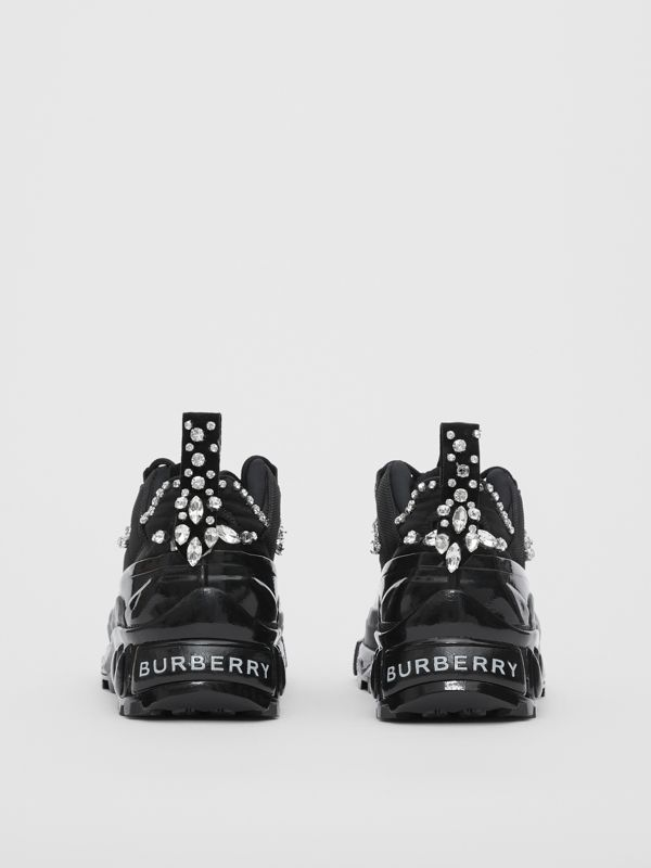 Crystal Detail Suede and Mesh Arthur Sneakers in Black/crystal - Women | Burberry United Kingdom - cell image 3