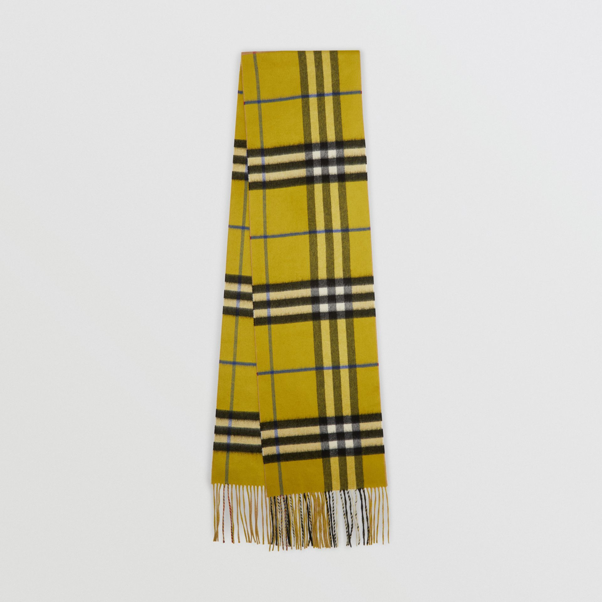 Long Reversible Check Double-faced Cashmere Scarf in Lime Citrine | Burberry - gallery image 0