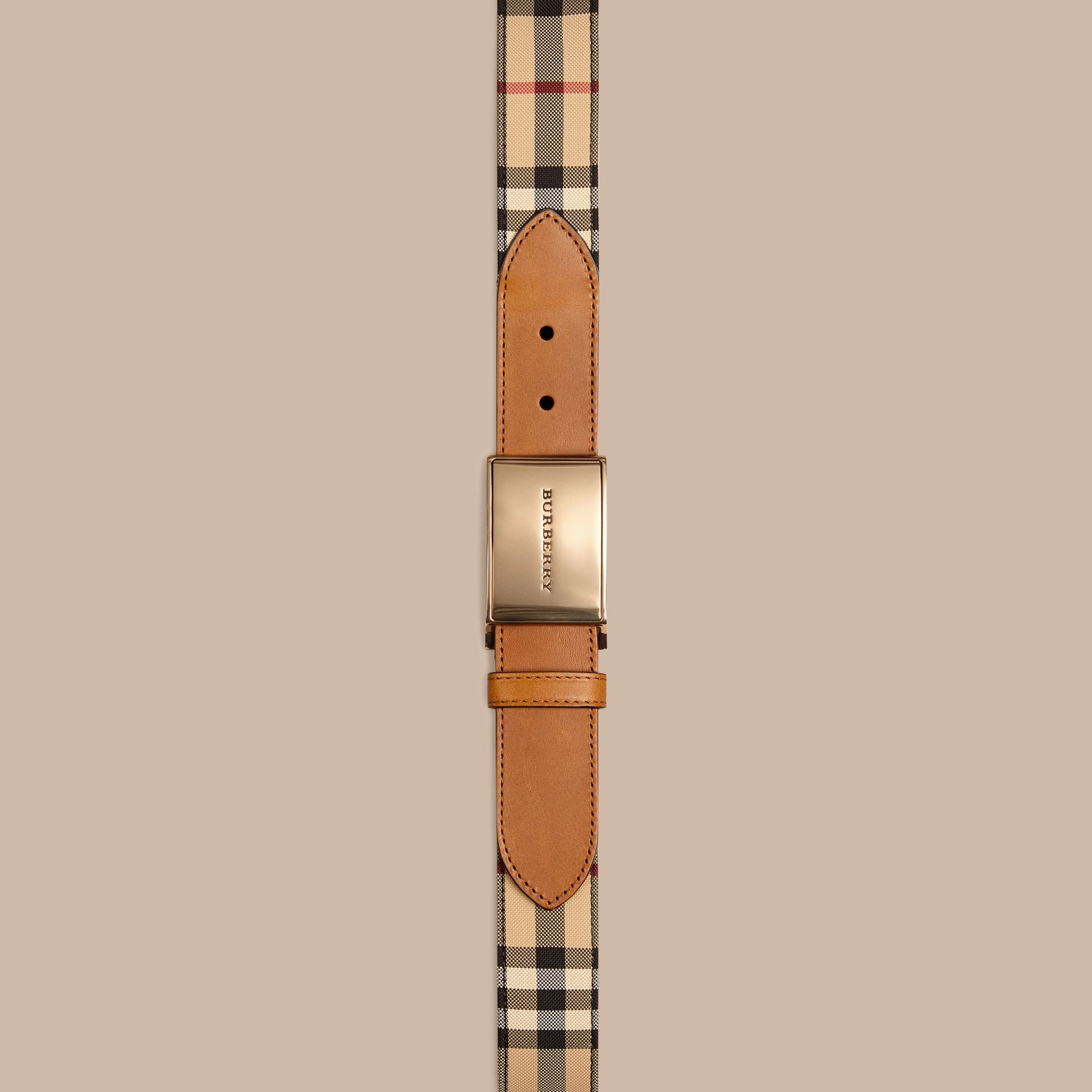 Horseferry Check and Leather Belt - Men | Burberry - gallery image 2