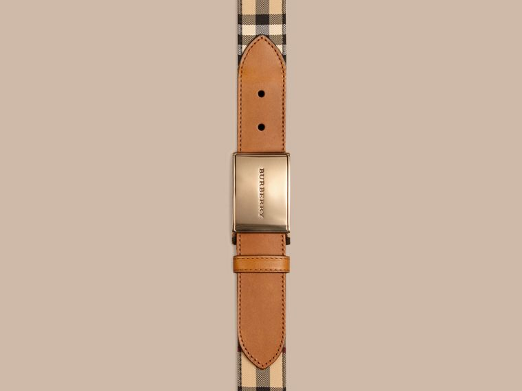 Tan Horseferry Check and Leather Belt - cell image 1