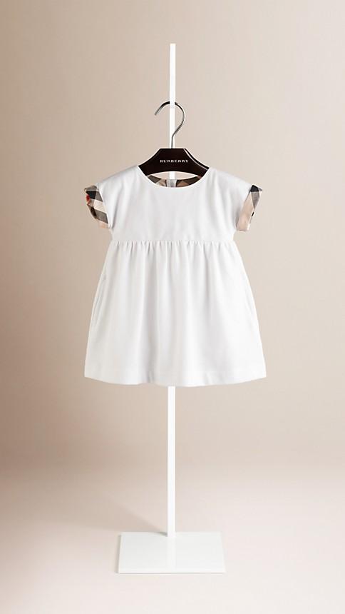 White Check Cuff Cotton Dress - Image 1