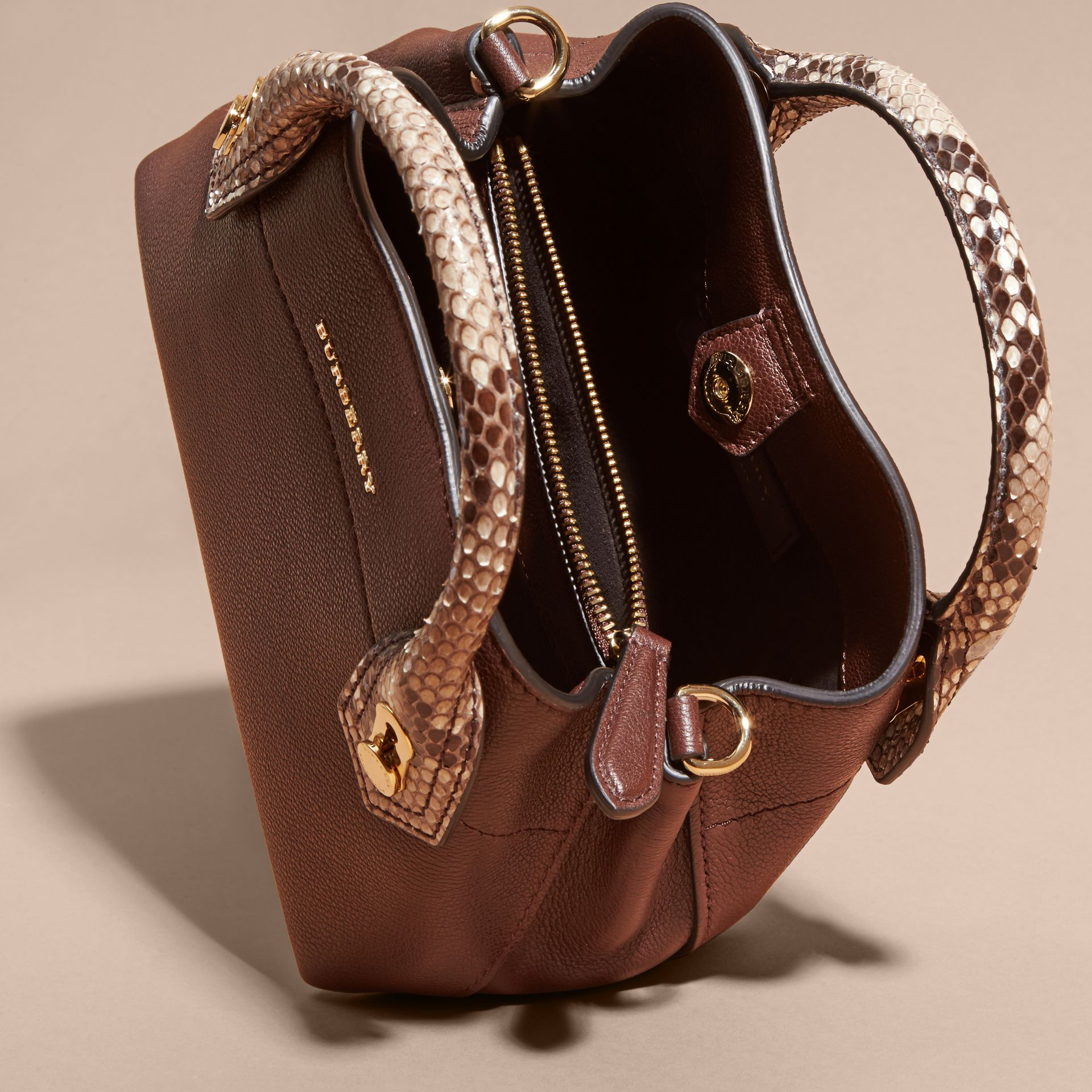 Dark chocolate The Baby Milton in Leather and Python - gallery image 5