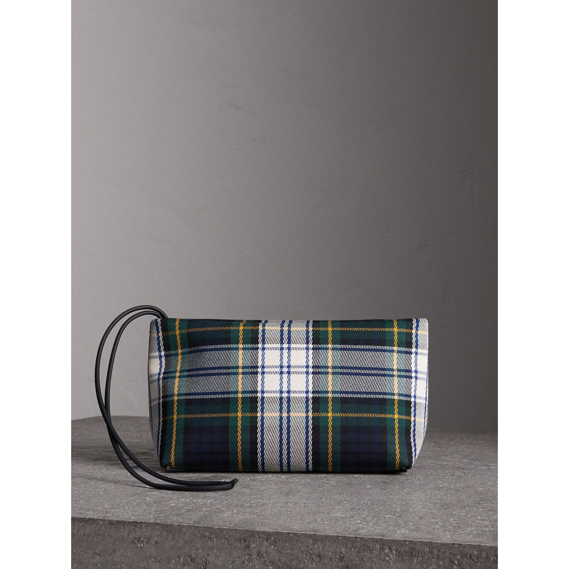 Tartan Cotton Clutch in Ink Blue/bright Yellow | Burberry Australia - gallery image 7