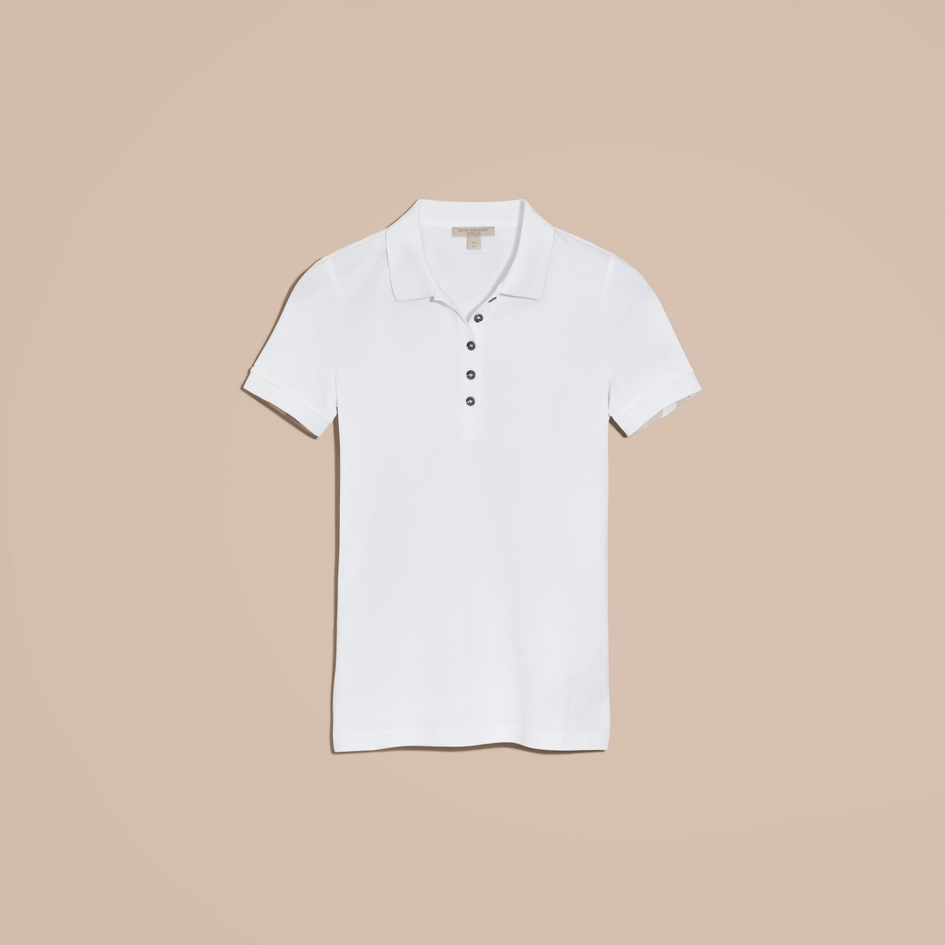 Check Trim Stretch Cotton Piqué Polo Shirt in White - gallery image 4