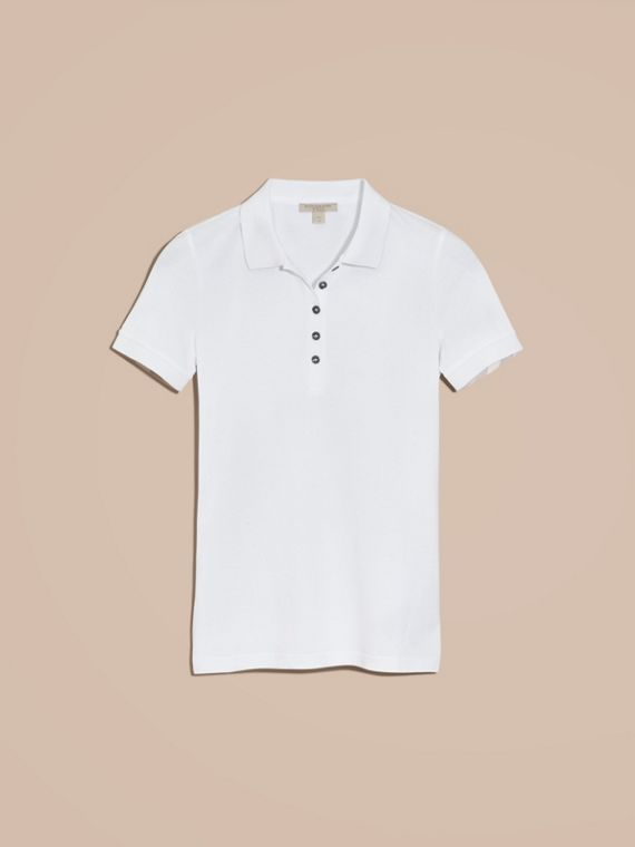 Check Trim Stretch Cotton Piqué Polo Shirt in White - cell image 3