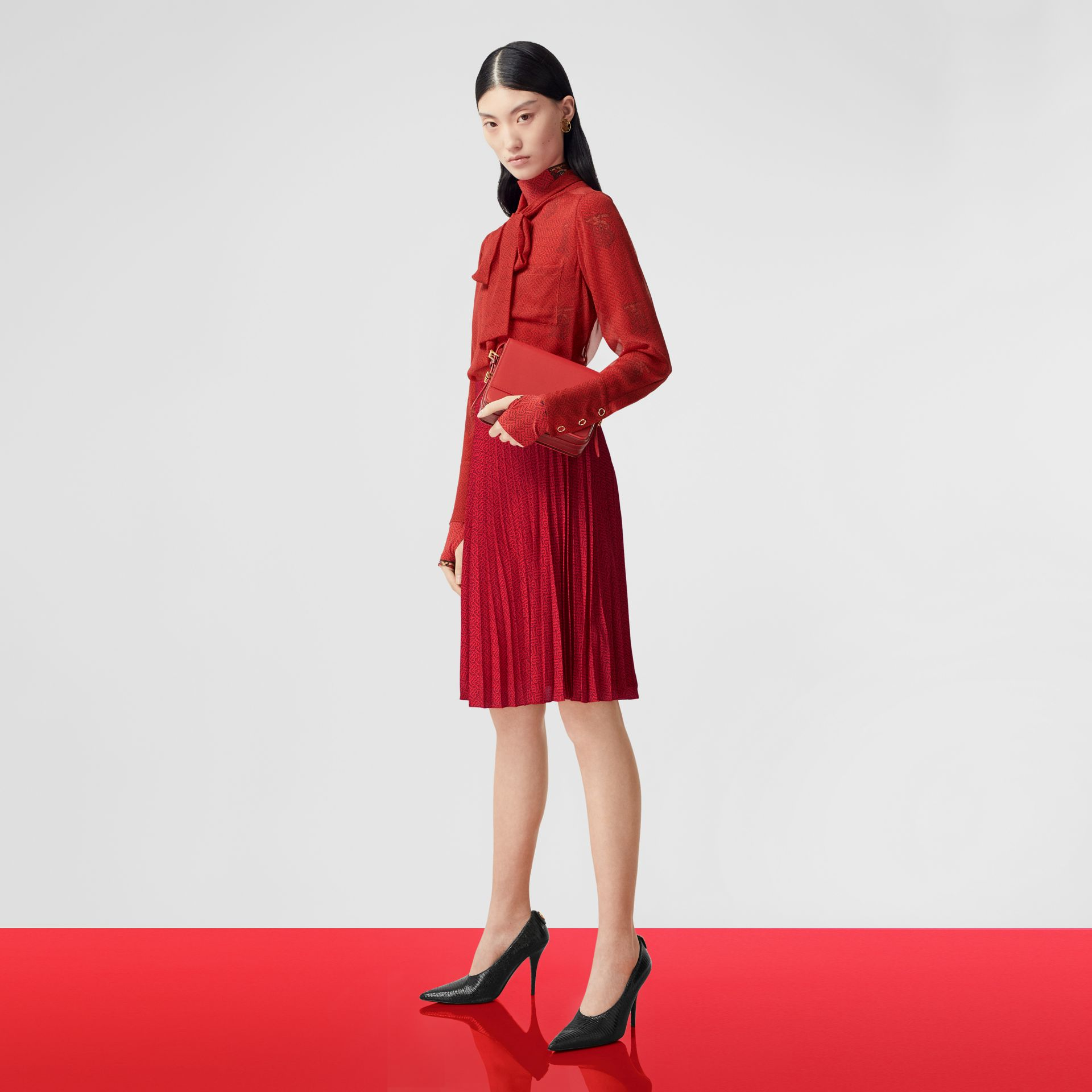 Monogram Print Pleated Skirt in Bright Red - Women | Burberry - gallery image 5