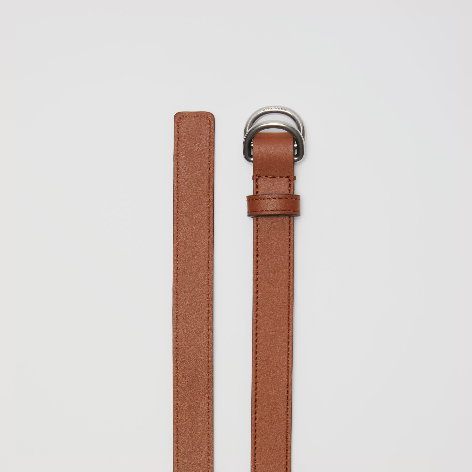 Slim Leather Double D-ring Belt in Tan/natural Silver - Women | Burberry - gallery image 5