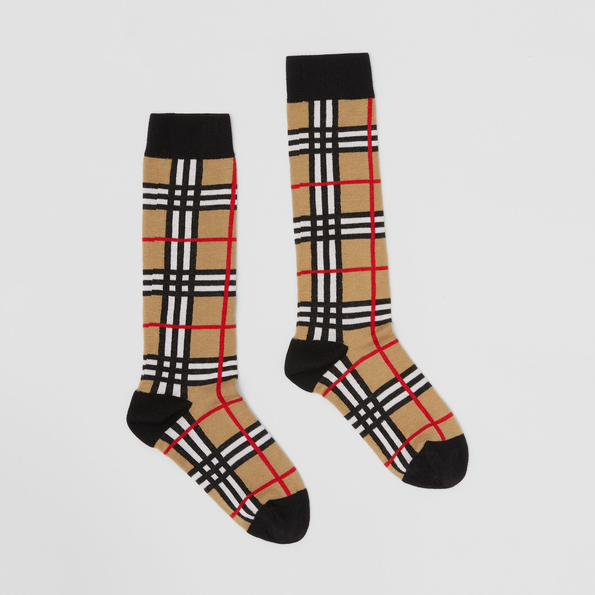 Check Intarsia Cotton Blend Socks in Archive Beige - Children | Burberry - gallery image 3