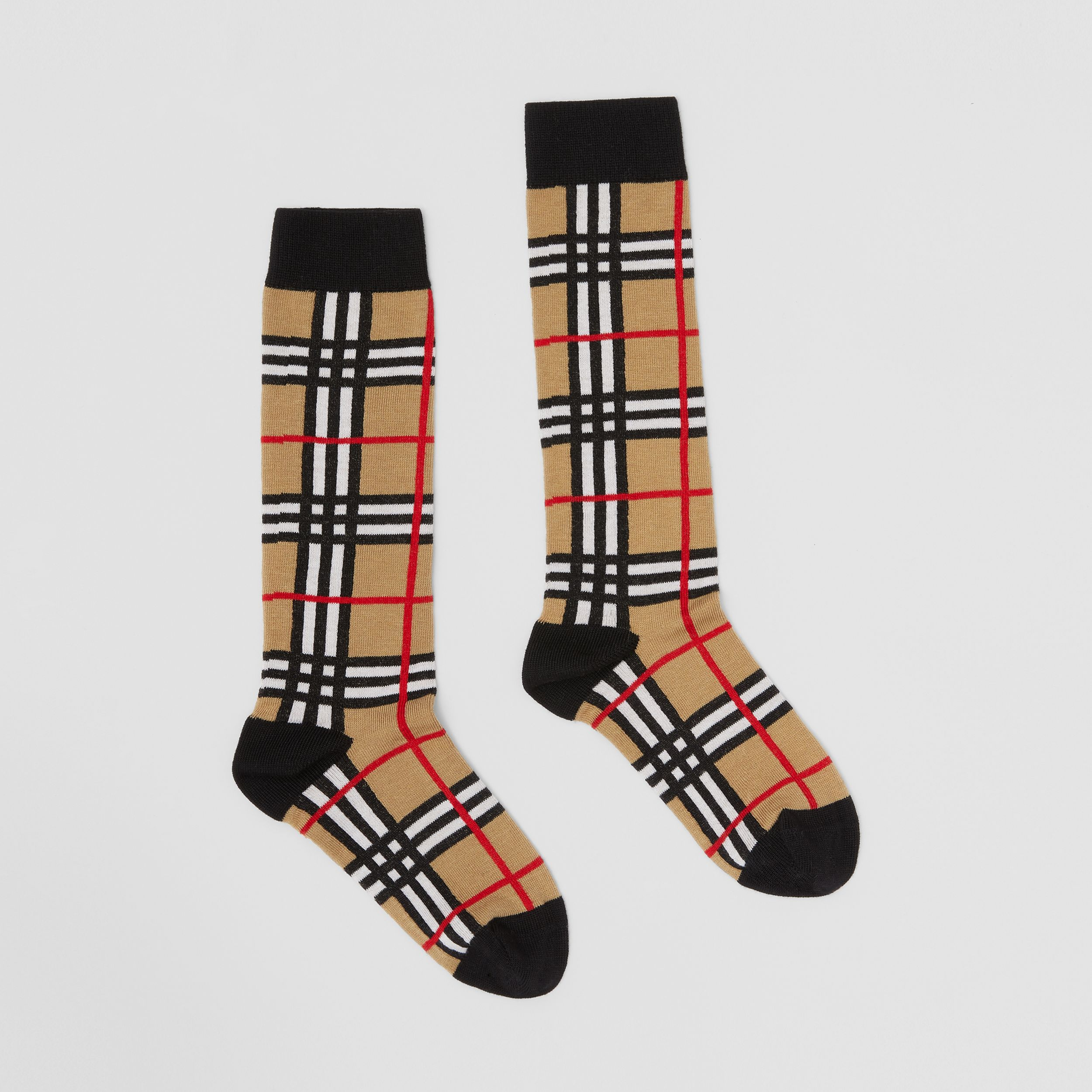 Check Intarsia Cotton Blend Socks in Archive Beige - Children | Burberry - 4
