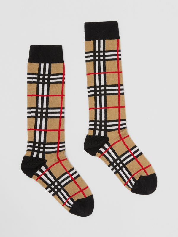 Check Intarsia Cotton Blend Socks in Archive Beige - Children | Burberry - cell image 3