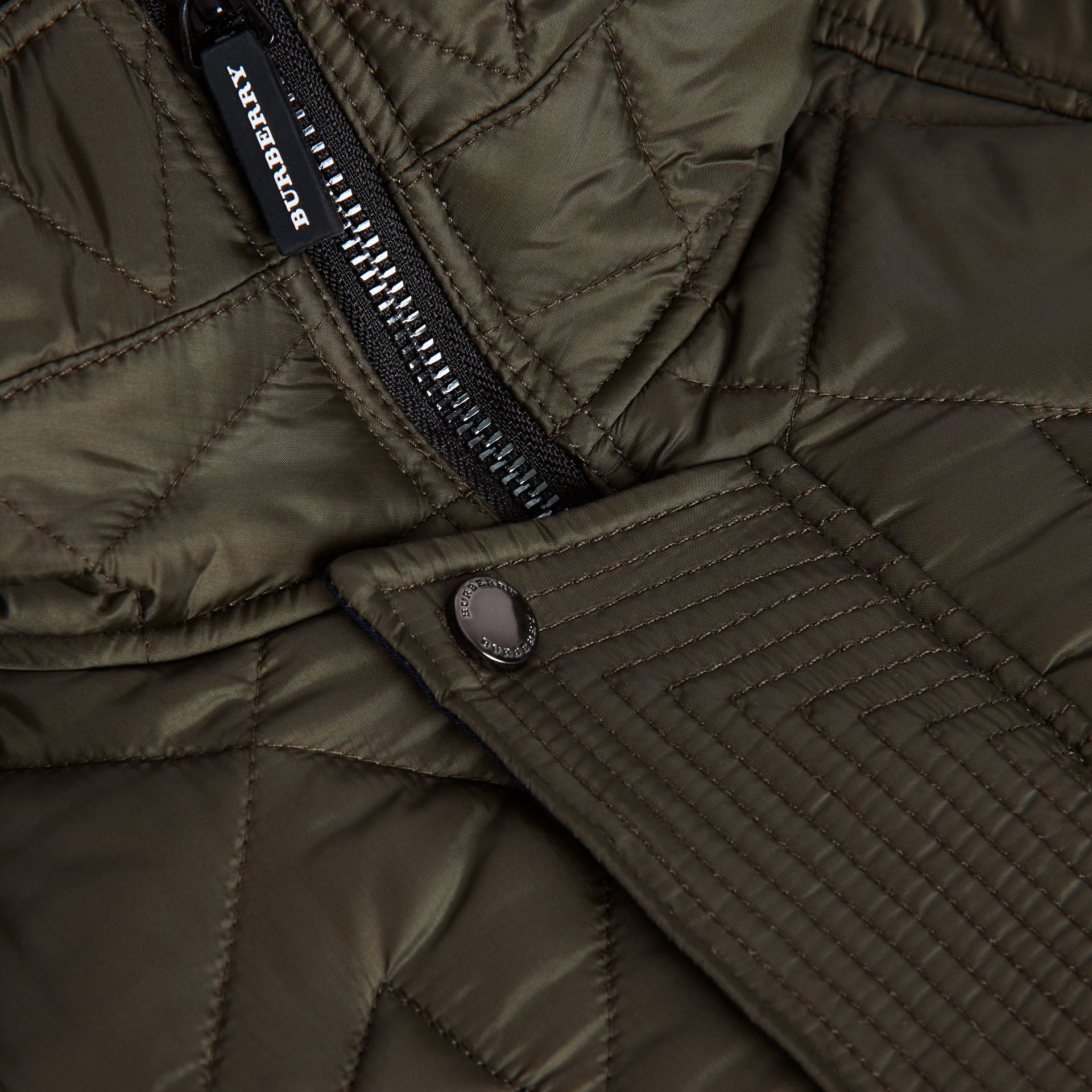 Diamond Quilted Hooded Jacket in Oregano | Burberry - gallery image 1