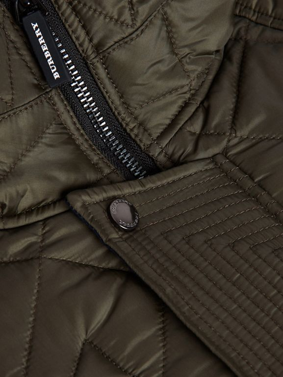 Diamond Quilted Hooded Jacket in Oregano | Burberry - cell image 1