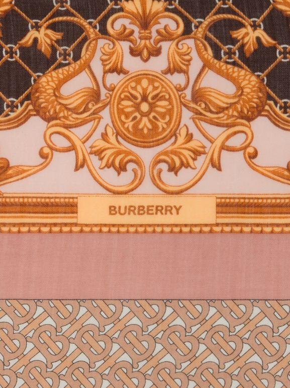 Archive Scarf Print Cashmere Large Square Scarf in Pale Blush | Burberry Hong Kong S.A.R - cell image 1