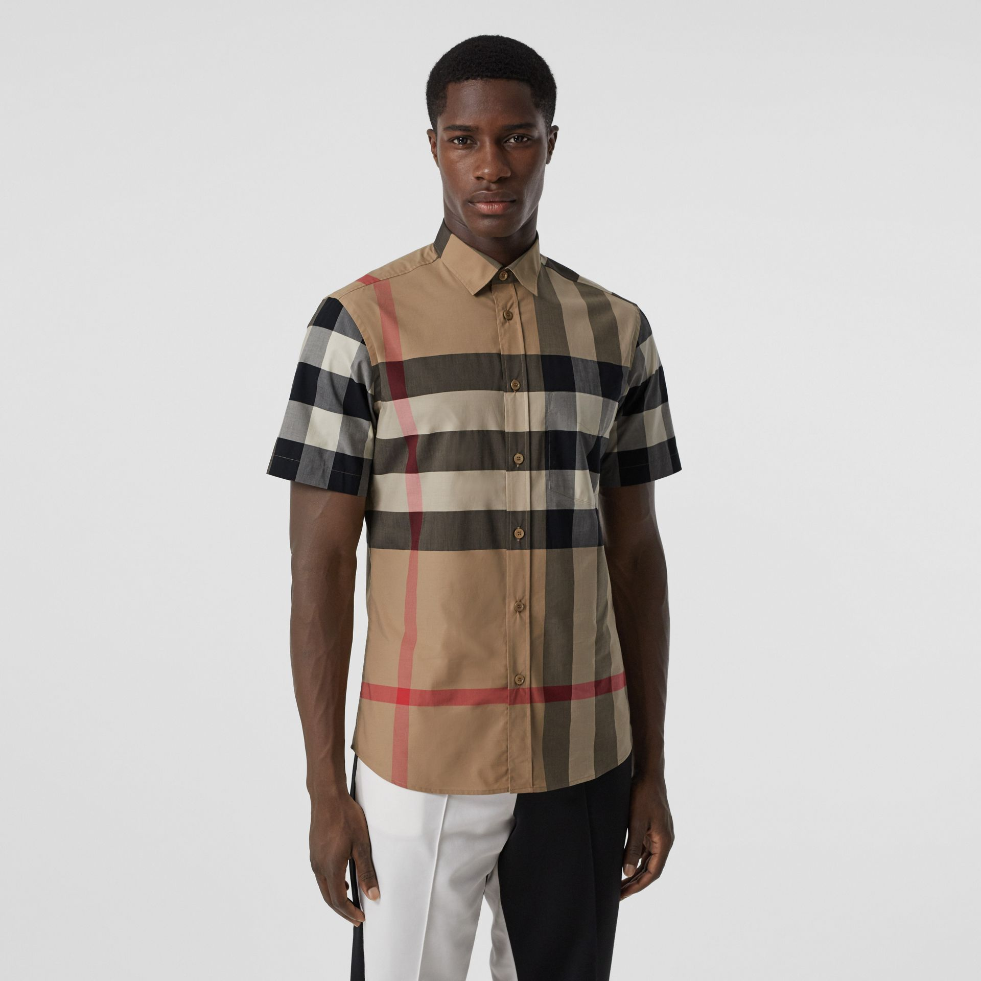Short-sleeve Check Stretch Cotton Poplin Shirt in Archive Beige - Men | Burberry - gallery image 4