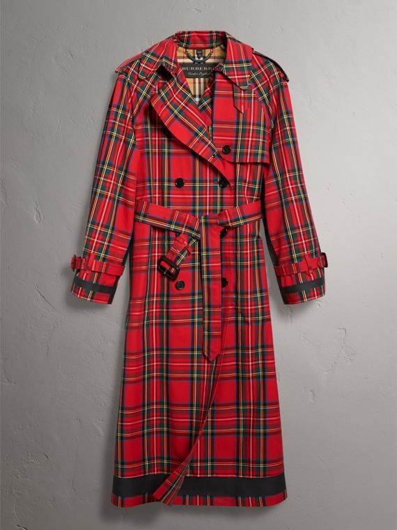 Tartan Cotton Gabardine Trench Coat in Bright Red - Women | Burberry - cell image 3